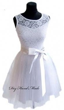 Handmade Biała princess z koronką bawelnianą. W talii wstążka. Uszyta takze z...