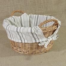 Okrągły koszyk z uszkami obszyty materiałem wzór - pasy