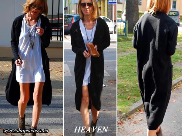 Długi, wygodny sweter wykonany z miękkiej dzianiny dresowej.   Idealne rozwiązanie dla wielbicielek luźnych rozwiązań.  Świetnie wygląda w połączeniu z szortami, legginsami, jak i jeansami. Rozmiary od XS do L.  Strona producenta shopsisters.eu