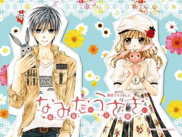 Manga: Namida Usagi - Seifuku no Kataomoi    Momoka, która kocha króliki, musi usiąść na końcu klasy obok Narumiego, chłopaka z którym nigdy nie gadała. Wszyscy myślą, że jest dziwny, a dziewczyny się go boją, czemu? Istnieje plotka mówiąca, że dziewczyny, które koło niego usiądą, nigdy nie znajdą miłości. Momoka wierzy w tą plotkę i boi się go, jednak poznaje prawdziwego Narumiego i zaczynają nią targać dziwne uczucia. Czy to przyjaźń czy... miłość?