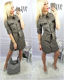Khaki sukienka IZER Zapraszamy na modneska.pl