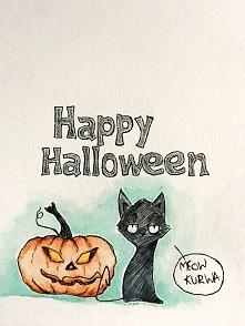 wesołego Halloween :) Akwarele i cienkopis :)