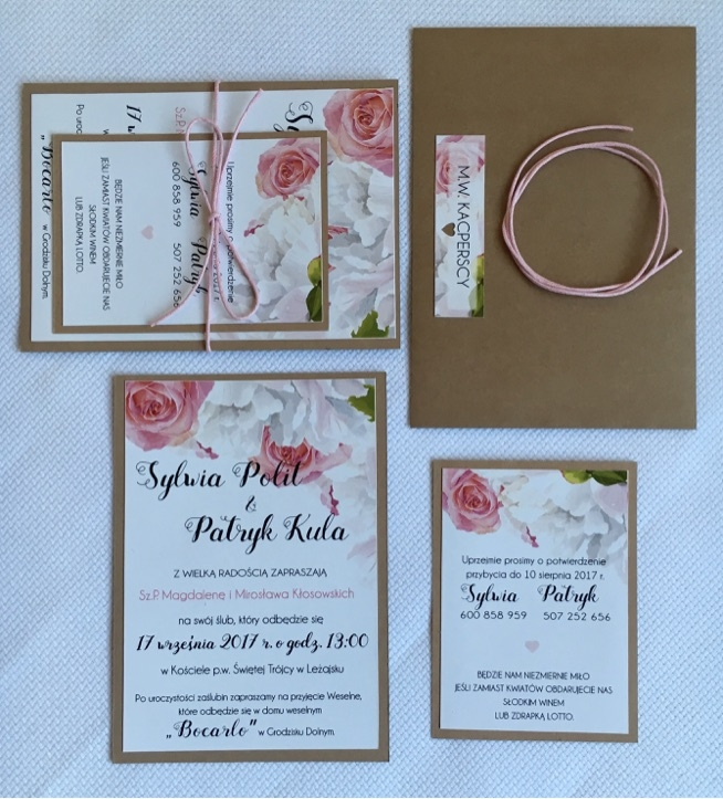 Zaproszenia ślubne Pastelowe Róże I Papier Eco Na Zaproszenia