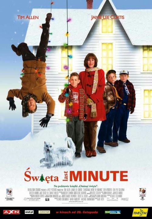Święta Last Minute (2004)  Luther (Tim Allen) i Nora (Jamie Lee Curtis) przez całe życie przykładnie obchodzili Boże Narodzenie. Ale teraz, gdy ich córka Blair (Julie Gonzalo) pracuje w Peru jako ochotniczka Korpusu Pokoju, perspektywa spędzenia samotnych świąt wydaje się im mało atrakcyjna. Pewnej wietrznej nocy w Chicago, Luther tęsknie spogląda na plakat w oknie biura podróży. Oczyma wyobraźni widzi siebie i Norę wygrzewających się w słońcu na Karaibach. A gdyby tak w te święta zrezygnować z choinki, lampek, ciast, wizyt u rodziny, dekoracji ... ze świąt? Chociaż Nora początkowo niechętnie odnosi się do propozycji świątecznego wyjazdu, wkrótce przekonuje się do tego pomysłu. Ale kiedy o planie państwa Krank dowiadują się ich sąsiedzi z ulicy Hemlock, pojawia się problem. Sąsiedzi, zwłaszcza ciekawski Vic Frohmeyer (Dan Aykroyd) są przerażeni. Pomysł nie podoba się też miejscowym policjantom, Salino (Cheech Marin) i Treenowi (Jake Busey) oraz partnerowi sparingowemu Luthera Waltowi Scheelowi (M. Emmet Walsh). Państwo Krank rezygnują ze świąt? Niewyobrażalne. Niemożliwe. Nie do pomyślenia. Oliwy do ognia dolewa jeszcze sam Luther, odmawiając umieszczenia na dachu oświetlonego bałwanka. Przecież każdy dom podczas świąt jest udekorowany bałwankiem! Słynie z tego cała ulica Hemlock, która wygrała już niejeden konkurs na najładniejsze dekoracje świąteczne, sponsorowany przez lokalne gazety. Spór między małżeństwem Krank a sąsiadami szybko się zaognia, zagrażając harmonii społeczności i psując atmosferę zbliżających się świąt. Niespodziewanie do Luthera i Nory dzwoni ich córka Blair. Jednak zdecydowała się przyjechać na święta do domu. Teraz małżeństwo ma niecałą dobę na przygotowanie świąt i stworzenie na ulicy Hemlock prawdziwie świątecznej atmosfery, którą zdążył już zepsuć ich spór z sąsiadami.