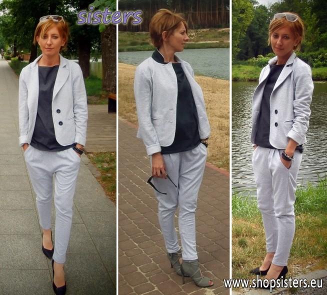 Cała w marce Sisters !!! - Bądź oryginalna i wzbudzaj zainteresowanie ! marynarka KOTI *** t-shirt FOCUS *** spodnie TAKARO  - czy można wyglądać bardziej stylowo i wygodnie a zarazem elegancko ?  Producent shopsisters.eu