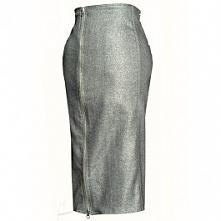 Srebrna, dżinsowa spódnica ...