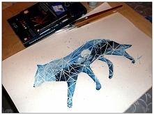 Geometryczny wilczek (akwarela A3canson)-QulkaDIY