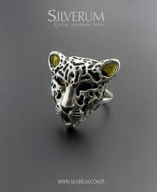 srebrny pierścionek - gepard