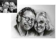 Portret na zamówienie ze zdjęcia. Technika : ołówek, drybrush. Format: 42,5x45cm. Idealny na prezent świąteczny Serdecznie zapraszam. patrycjagustaw@onet.pl