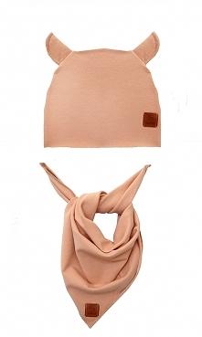 Zestaw czapka i chusta - morelowy