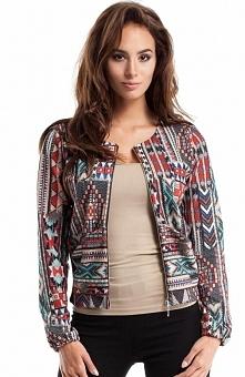 Moe MOE267 blazer boho Ciekawy blazer damski, wykonany z tkaniny w kolorowy nadruk, zapinany z przodu na zamek