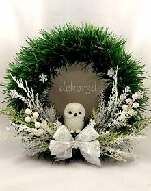 Wianek świąteczny ze śnieżną sową. Zapraszam na Artillo.pl