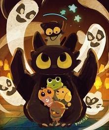 Szczerbatek z bohaterami ostatniej Halloweenowej gry Google :D
