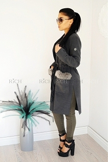 Płaszczyk szary z liskiem <3 shop online richinside.eu