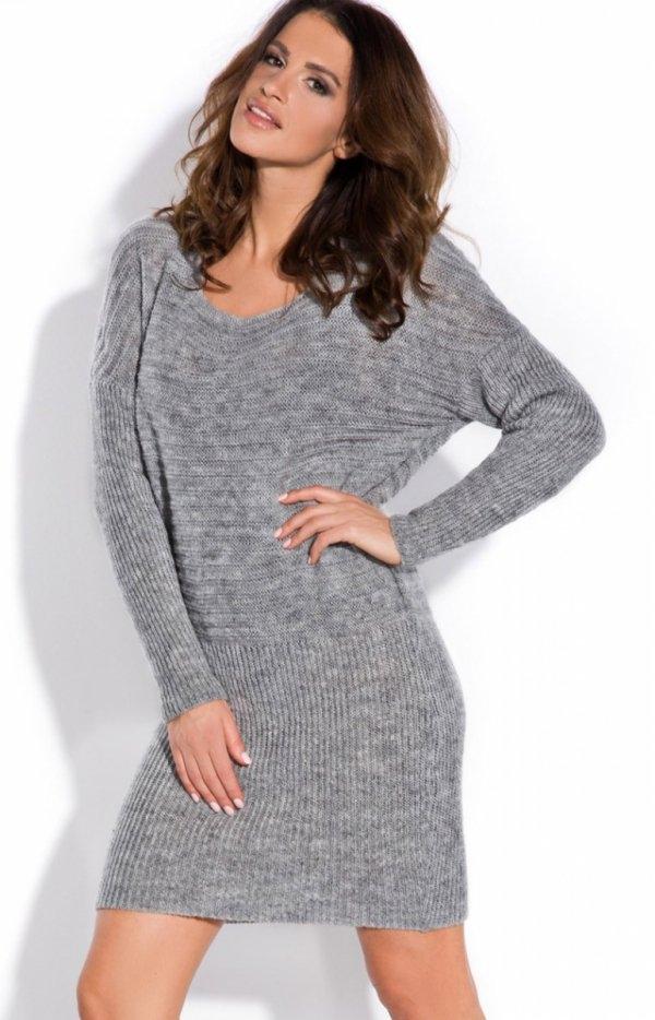 FIMFI I141 sukienka szara Piękna ciepła sukienka, z długim rękawem, prosty a zarazem kobiecy fason