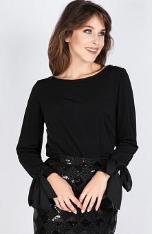Milu MP236 bluzka czarna Efektowna bluzka damska, świetnie komponuje się z każdym dodatkiem, z długim rękawem
