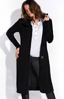 FIMFI I146 sweter czarny Ciepły długi sweter, zapinany z przodu na duże guzik...