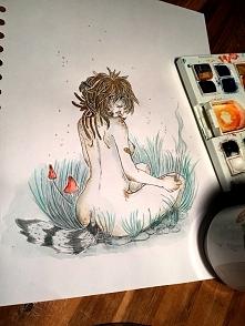 kolejny semi :) też w klimacie chill out :)tradycyjnie już ołówek i akwarele plus biały żelopis :)