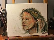 moja praca, zrobilam ja tylko dlatego ze farby mi zostalo z portretu nad ktorym bardzo dlugo pracowalam , a efekt jest bez sensu. Ten portret jest o wiele lepszy niz ten co tak ...