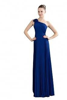 Angelia Bridal Flowers One Shoulder Pleated Long Prom Party Dress