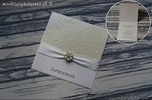 Ręcznie robione zaproszenia na Chrzest Święty z perłami