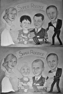Idealny prezent ślubny w podziękowaniu dla rodziców. Karykatury Pary Młodej i...