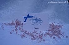 Zaproszenia na Chrzest Święty z wózkiem i perełkami