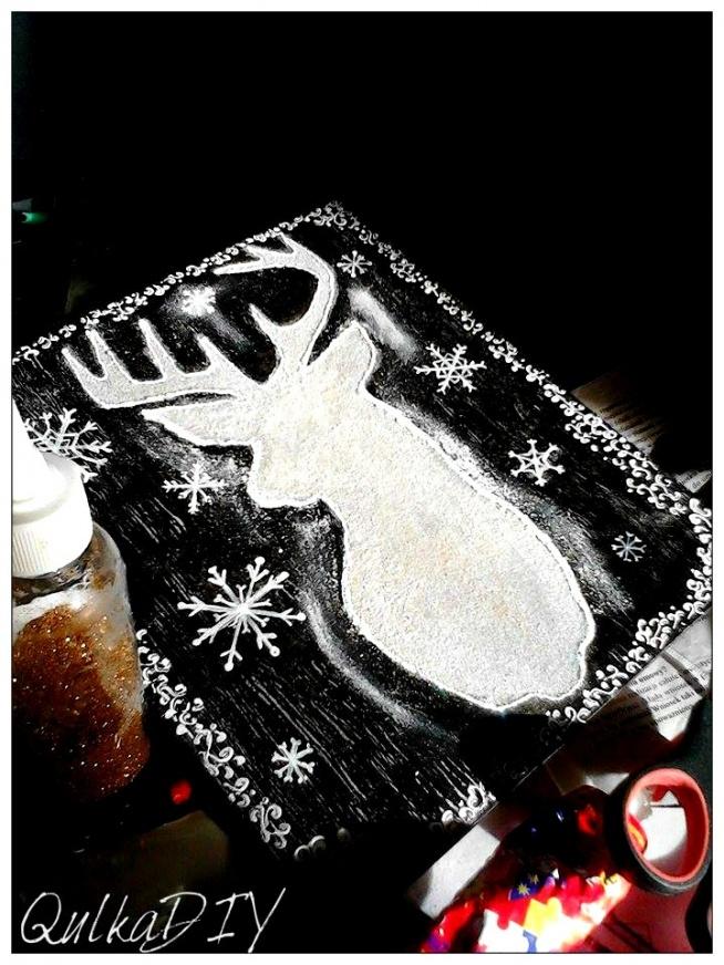 Obrazek na desce z jeleniem :)
