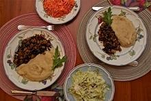 Ragout z fasoli z selerowo – kartoflanym puree