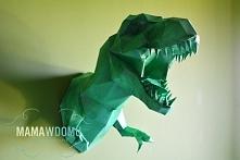 T-rex origami na ścianę, niewielki wkład, bo tylko klej i kartony, niewielkie...