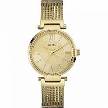 Damski zegarek złocony Guess W0638L2 wysadzany cyrkoniami, nowa kolekcja Gues...
