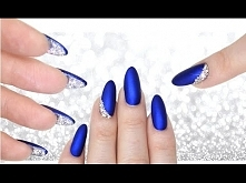LUXE BLUE VELVET & DIAMOND PEEKABOO NAILS - DOUBLE SIDED MANI CRYSTAL NAILART