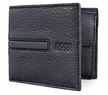 HUGO BOSS sprzedam nowy męski portfel - model: Galko - skóra naturalna  - kolor czarny - wymiary: 9,5 x 11,5 cm - 4 kieszenie na karty/wizytówki - 2 kieszenie otwarte - kieszonk...