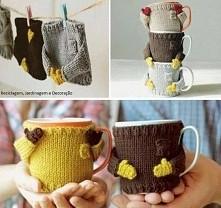 sweterki na kubek wykonane na drutach