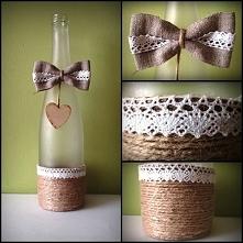 Butelka po winie czy już wazon? Jak Wam się podoba taka dekoracja na weselny ...