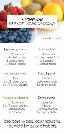 6 pomysłów na koktajle owocowe. Kliknij w zdjęcie i zobacz więcej.
