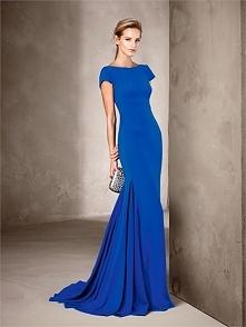 Mermaid boat neck short sleeves blush train royal blue chiffon Prom Dresses P...