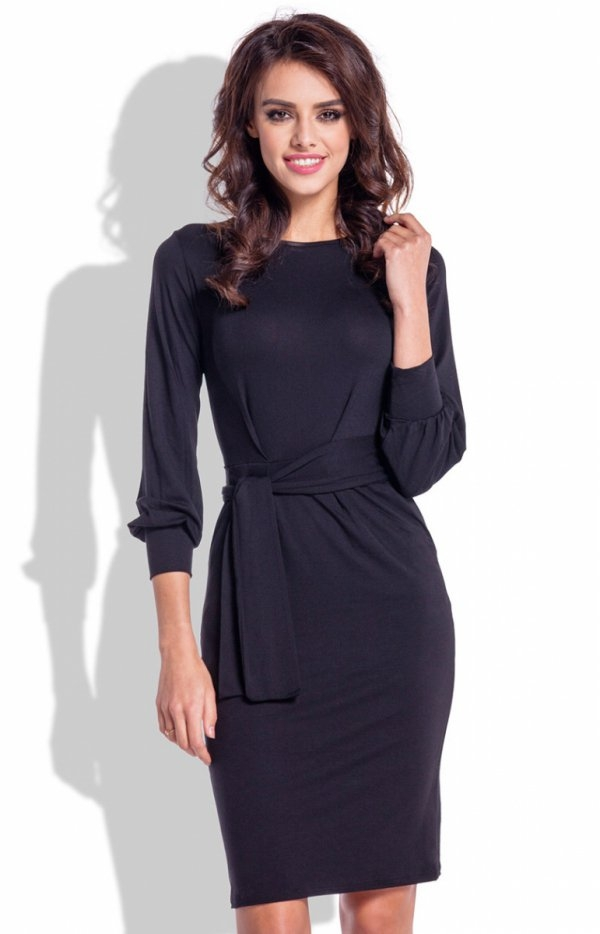 Fobya F334 sukienka czarna Elegancka sukienka, ołówkowy fason, rękaw 7/8 lekko bufiasty