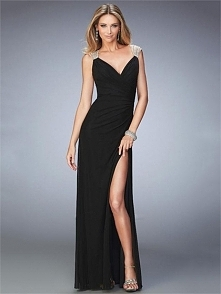 Elegant Lightly Ruched Beaded Straps with Side Slit Prom Dress PD3244
