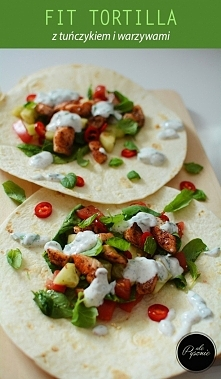 Składniki  Ilość porcji: 2      2 pszenne tortille     200 g tuńczyka     50 g szpinaku     50 g pomidorów     50 g ogórka     100 g jogurtu naturalnego     1 papryczka chilli  ...
