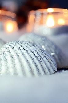 Dzisiejsze DIY - muszle w brokacie srebrnym