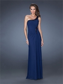 One Shoulder Beadings Sequins Floor Length Chiffon Prom Dress PD2507