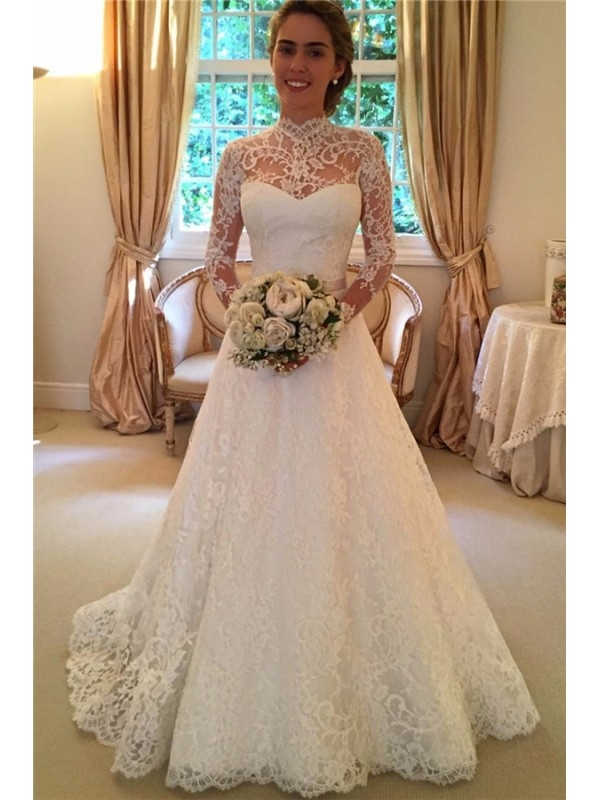 HIGH NECK LONG SLEEVE LACE WEDDING DRESS WITH KEY HOLE BACK