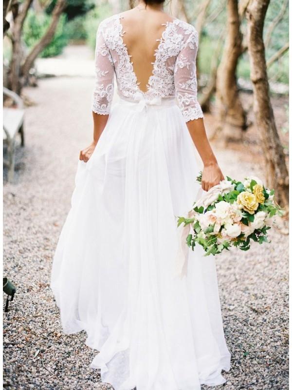 V BACK 3/4 SLEEVES CHIFFON BEACH WEDDING DRESS WITH LACE dressbib.com