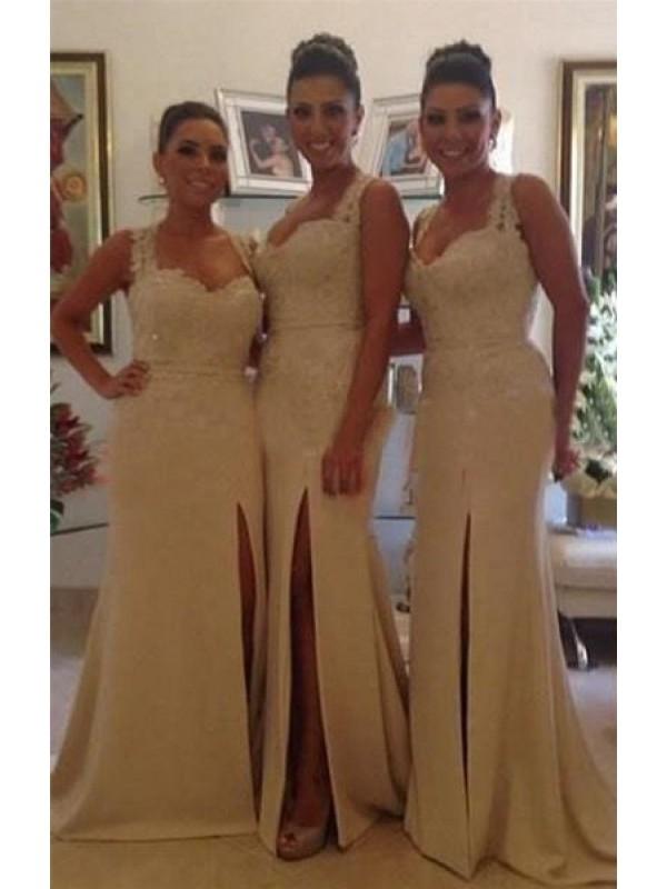 BEADED APPLIQUES SWEATHEART SPLIT MERMAID/TRUMPET SATIN BRIDESMAID DRESS WITH BUTTONS ZIPPER BACK dressbib.com
