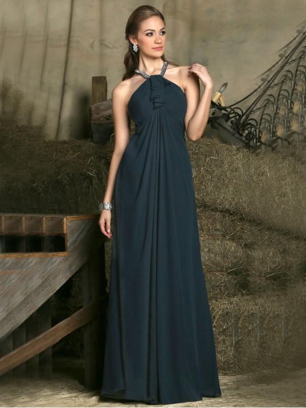 BEADED HALTER CHIFFON SLEEVELESS A-LINE FLOOR-LENGTH EMPIRE BRIDESMAID DRESSES dressbib.com
