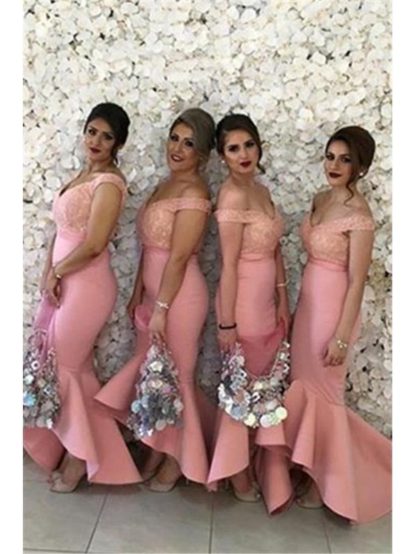BEADED LACE OFF THE SHOULDER MERMAID HIGH-LOW SEXY SATIN BRIDESMAID DRESS dressbib.com