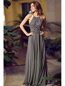A-LINE SPAGHETTI STRAP SQUARE BEADED SWEEP/BRUSH TRAIN CHIFFON PROM DRESSES