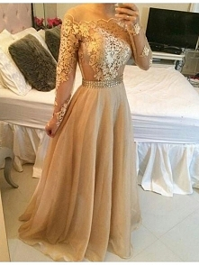 CHAMPAGNE LONG SLEEVED BUILT IN BRA LACE PROM DRESS 2017 dressbib.com