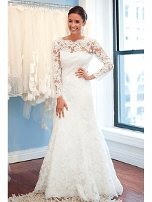 MERMAID FULL LACE WEDDING DRESS WITH LONG SLEEVES dressbib.com